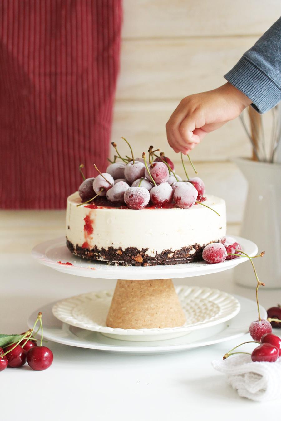 non baked cheesecake mit kirschen